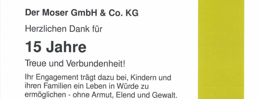 15 Jahre Unterstützung der Kindernothilfe - Moser GmbH & Co. KG